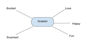 Web with gratitude in the middle and feelings stemming out from the center.