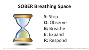 SOBER breathing includes 5 components: Stop, Observe, Breathe, Expand, Respond